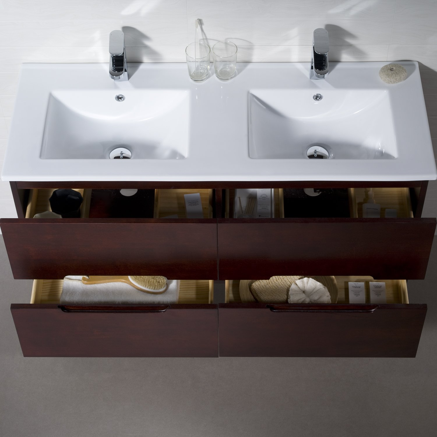 Wall Mount Bathroom Vanity Elton 48 Dark Walnut Double Sink with Porcelain Top by INOLAV