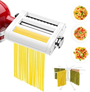 ANTREE 3 in 1 Roller & Cutters Attachment Set For KitchenAid Stand Mixers Included Pasta Sheet Roller, Spaghetti, Fettuccine Cutter Maker, Accessories, And Cleaning Brush & Pasta Drying Rack