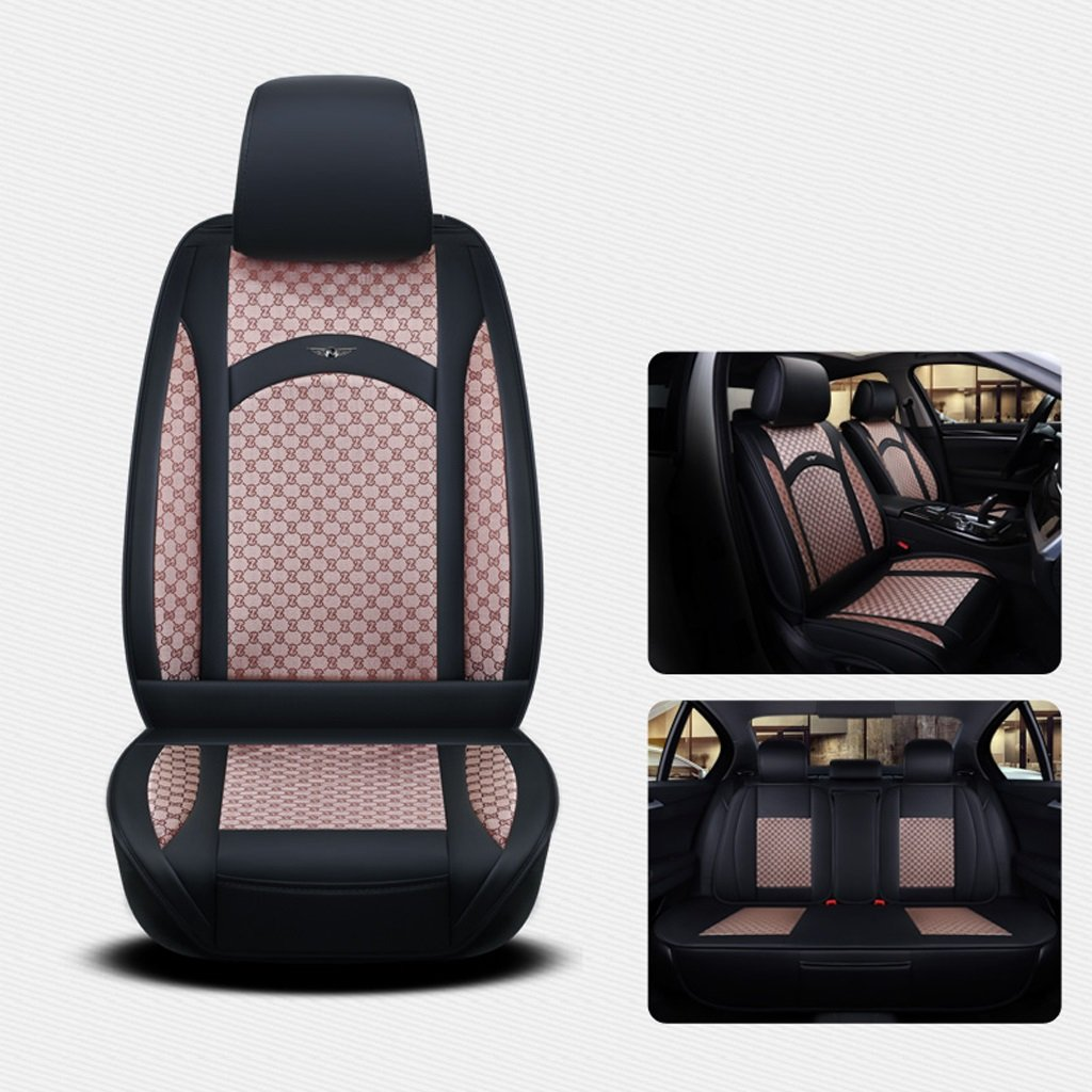 Seat Covers for Cars Full PU Leather Car Seat Cover 5 Seats General Purpose Compatible Split Rear Seat Fit Most Car, Truck, SUV, Or Van Black/Beige (Size : Standard Edition)