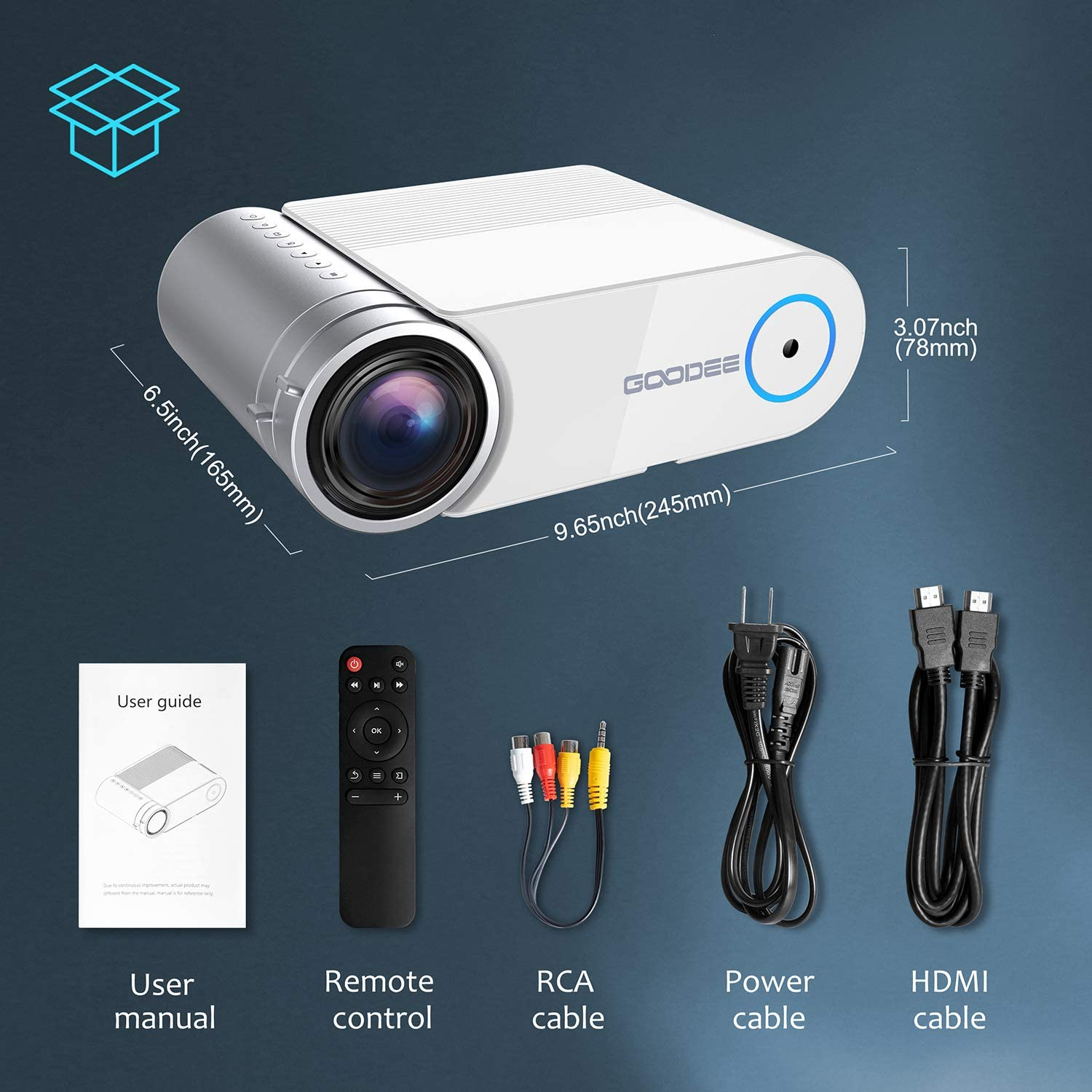 Projector GooDee Video Projector for Home Theater 3800 lux Movie Projector for Business Party Games Support 1080P Compatible with Fire TV Stick//PS4//HDMI//VGA//USB