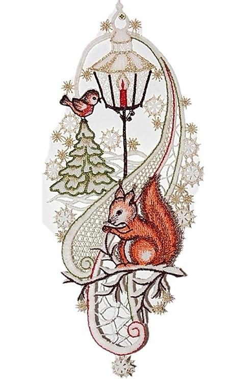Plauen Ricamo Vetrofania Natale E Inverno In Punta Scoiattolo
