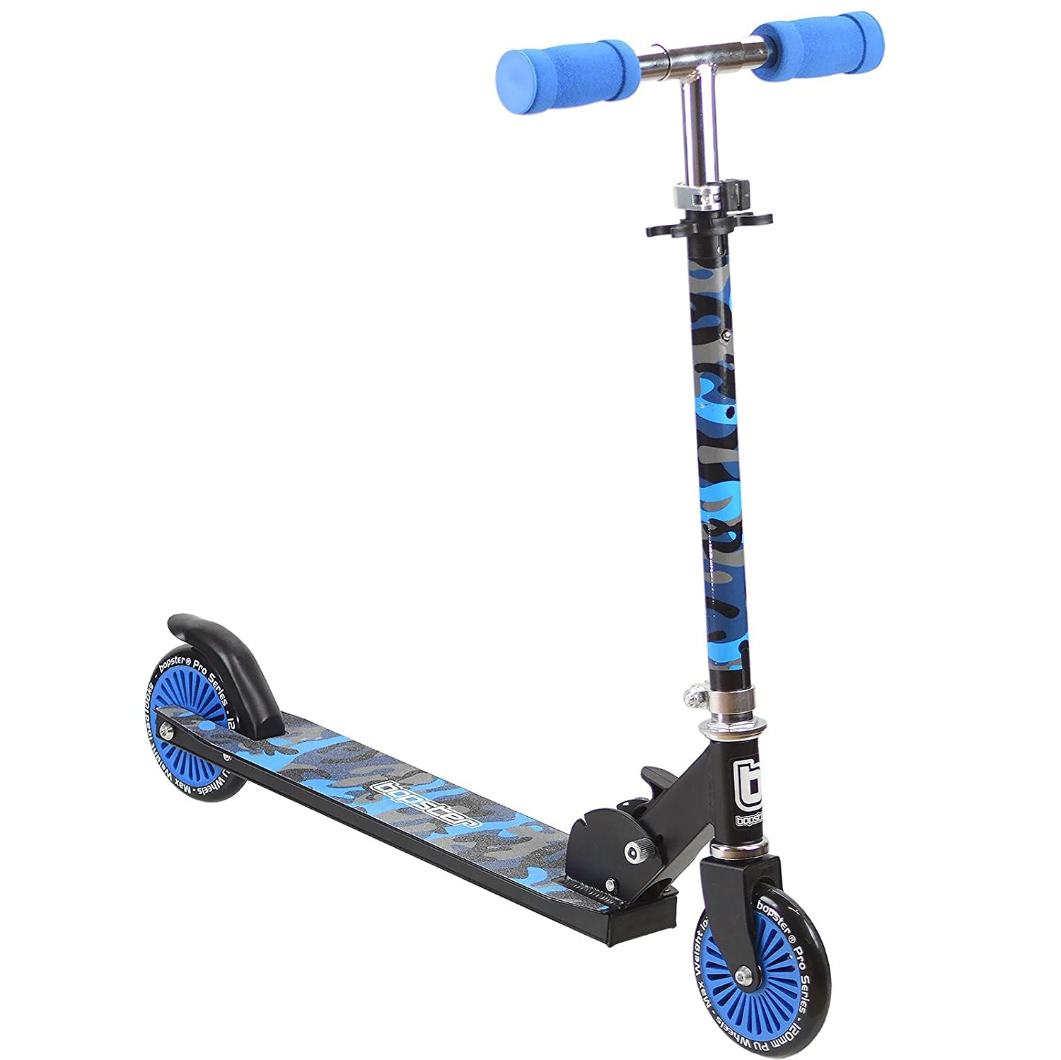 Bopster 2 Wheeled Folding Childrens Kick Scooter – Blue Camo