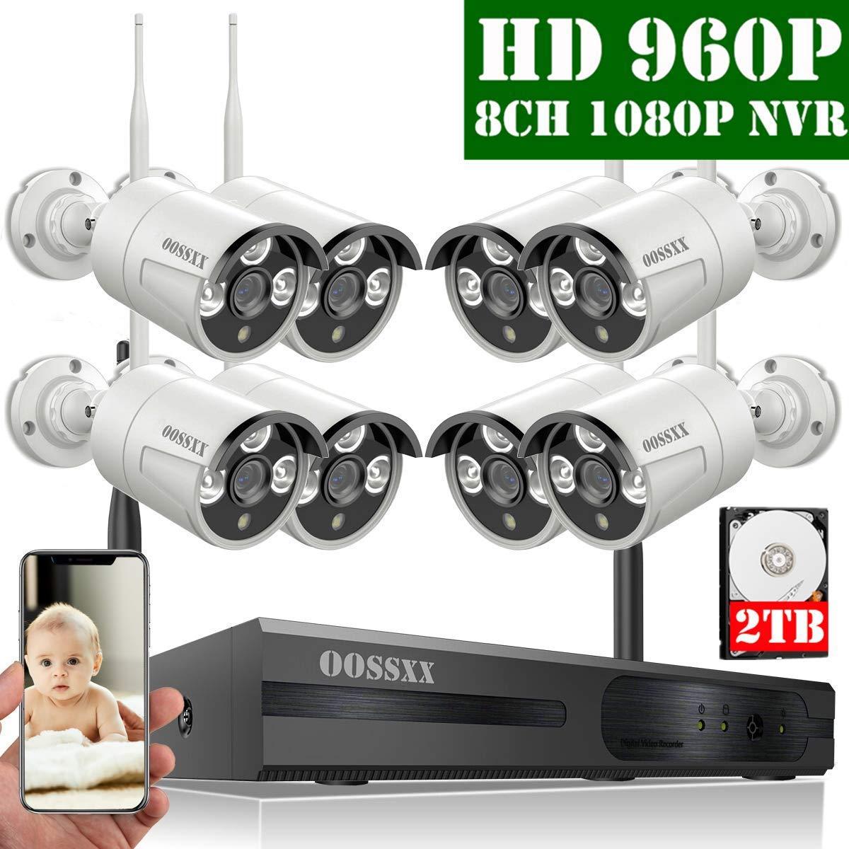 【2020 Nuevo】Sistema de Cámara Inalámbrica de Seguridad Interior/Exterior, 8 Canal 1080P NVR Kit 8 960P IP Cámaras de Videovigilancia WiFi Exterior con Alarma de Detección de Movimiento, 2TB Disco Duro