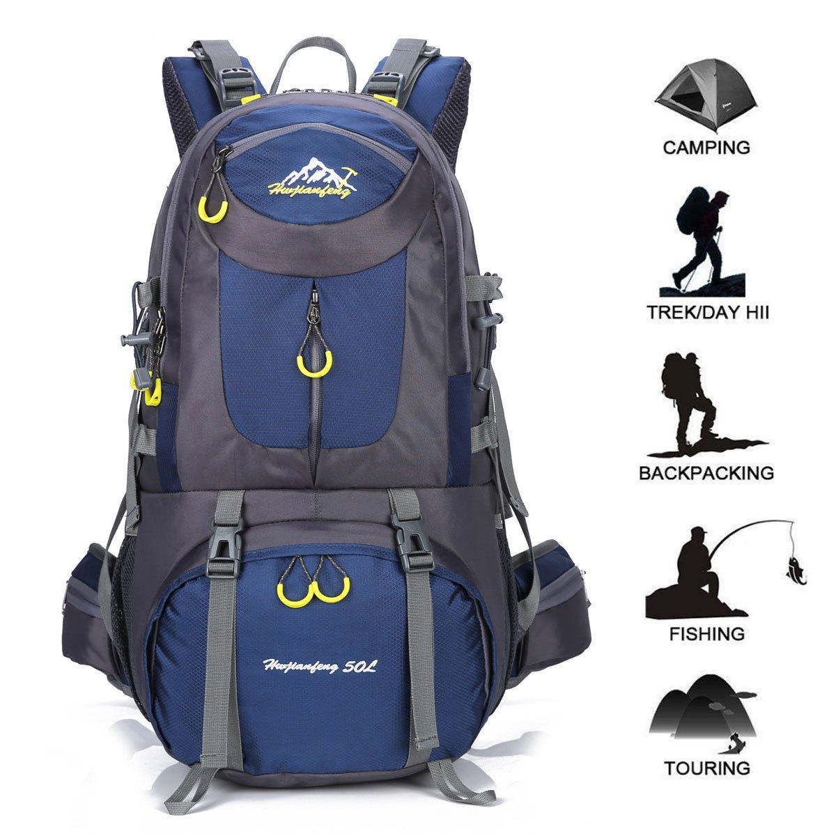 Gohyo Mochila de Viaje 50L Senderismo Ligera Impermeable para Marcha Trekking Camping Montaña Escalada Dark Blue: Amazon.es: Deportes y aire libre