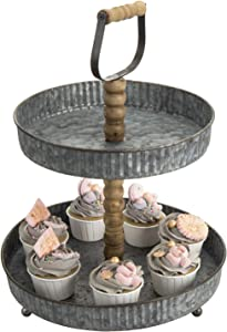 MyGift 2 Tier Rustic Galvanized Silver Metal Cupcake/Dessert Retail Display Stand with Carved Wooden Handle & Post