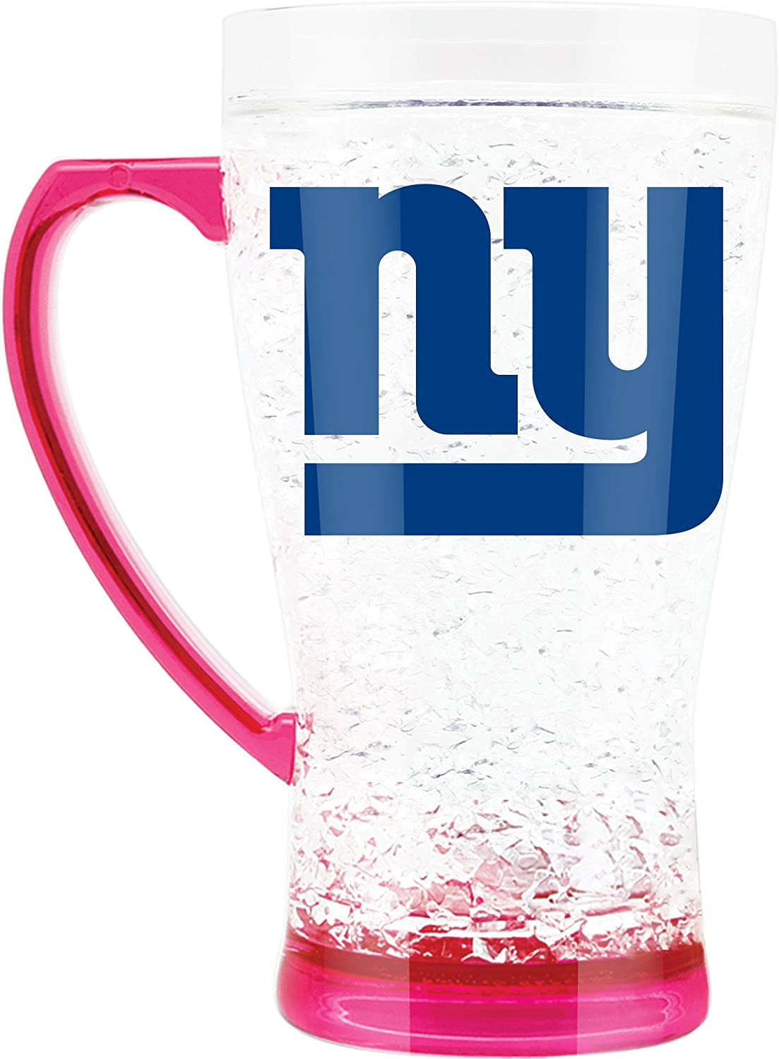 NFL New York Giants 16oz Crystal Freezer Flared Mug with Pink Base and Handle