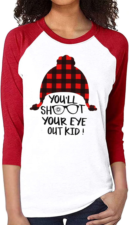 Christmas Shirts for Women You Will Shoot Your Eye Out Tshirt Funny Saying Xmas Plaid Hat Printed Raglan 3/4 Sleeve Tops