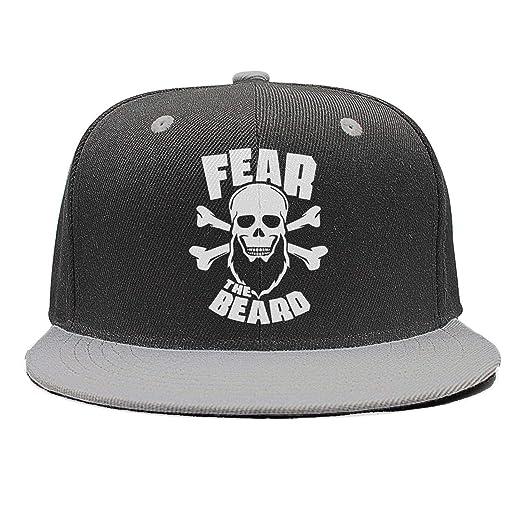 389c4bd07cd WENL Mens Womens Fear The Beard Casual Adjustable Flat Brim Baseball Hat at  Amazon Men s Clothing store
