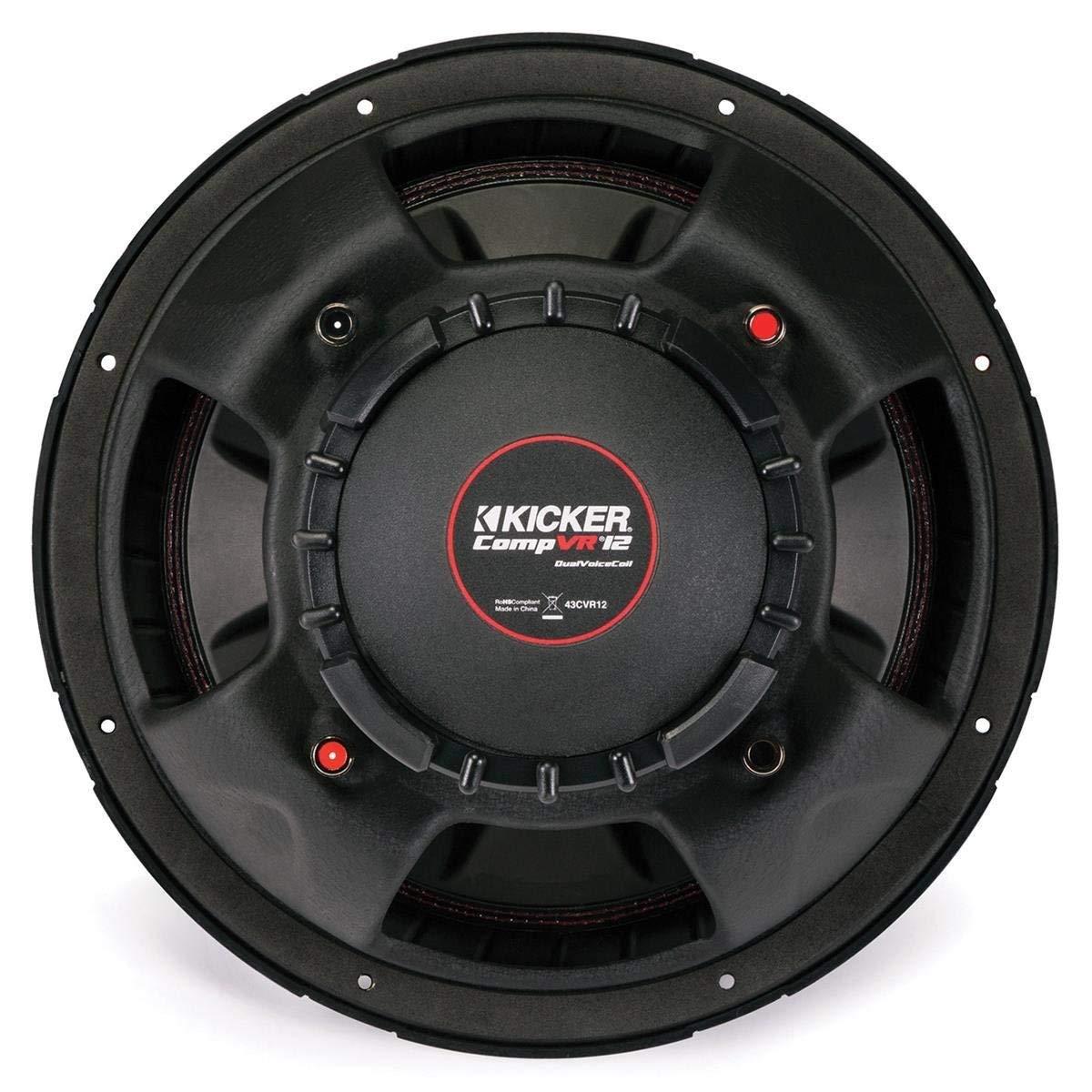 "Amazon.com: Kicker CompVR CVR122 (43CVR122) 800W Peak (400W RMS) 12"" CompVR  Series Dual 2-Ohm Car Subwoofer: Home Audio & Theater"
