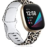 Maledan Compatible with Fitbit Sense and Fitbit Versa 3 Bands for Women Girls, Soft Pattern Printed Floral Band Accessories R