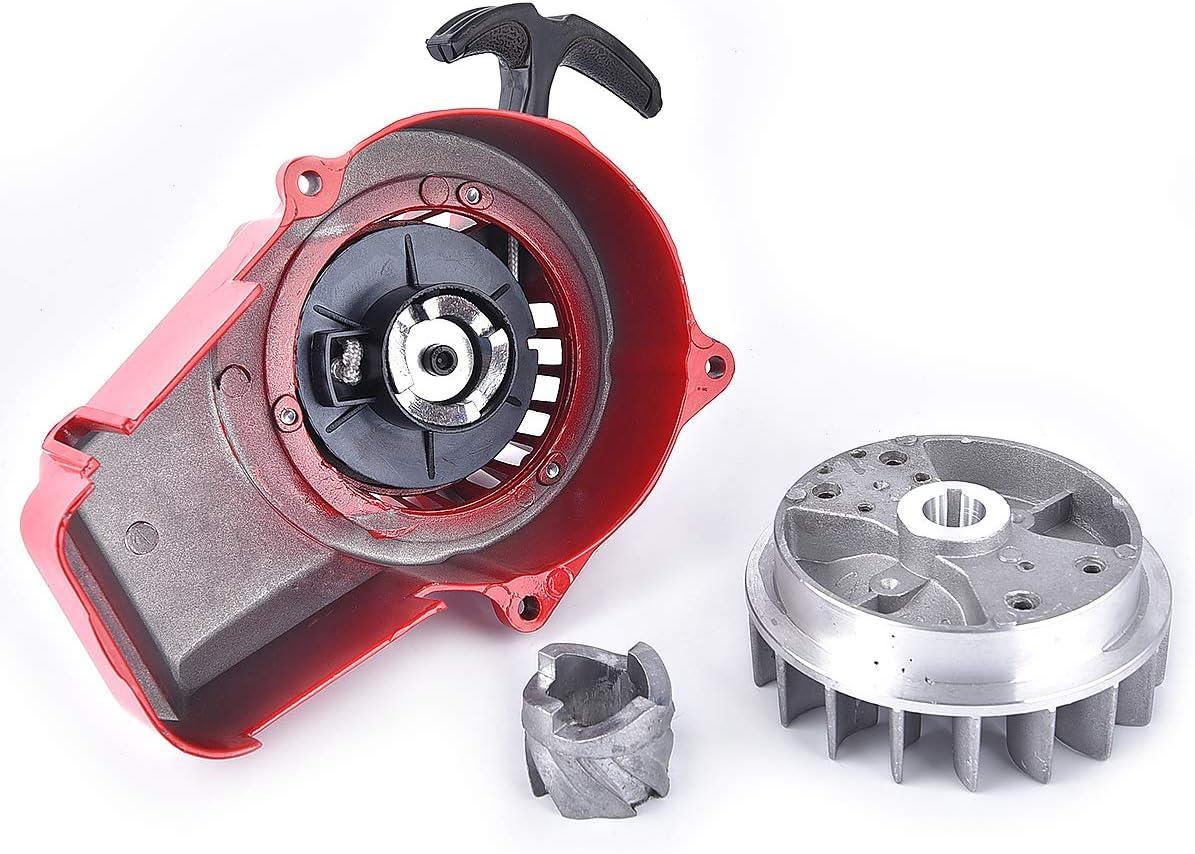 Alloy Pull Start Recoil Starter with Flywheel Core for 47cc 49cc Pocket Dirt Bike Mini ATV