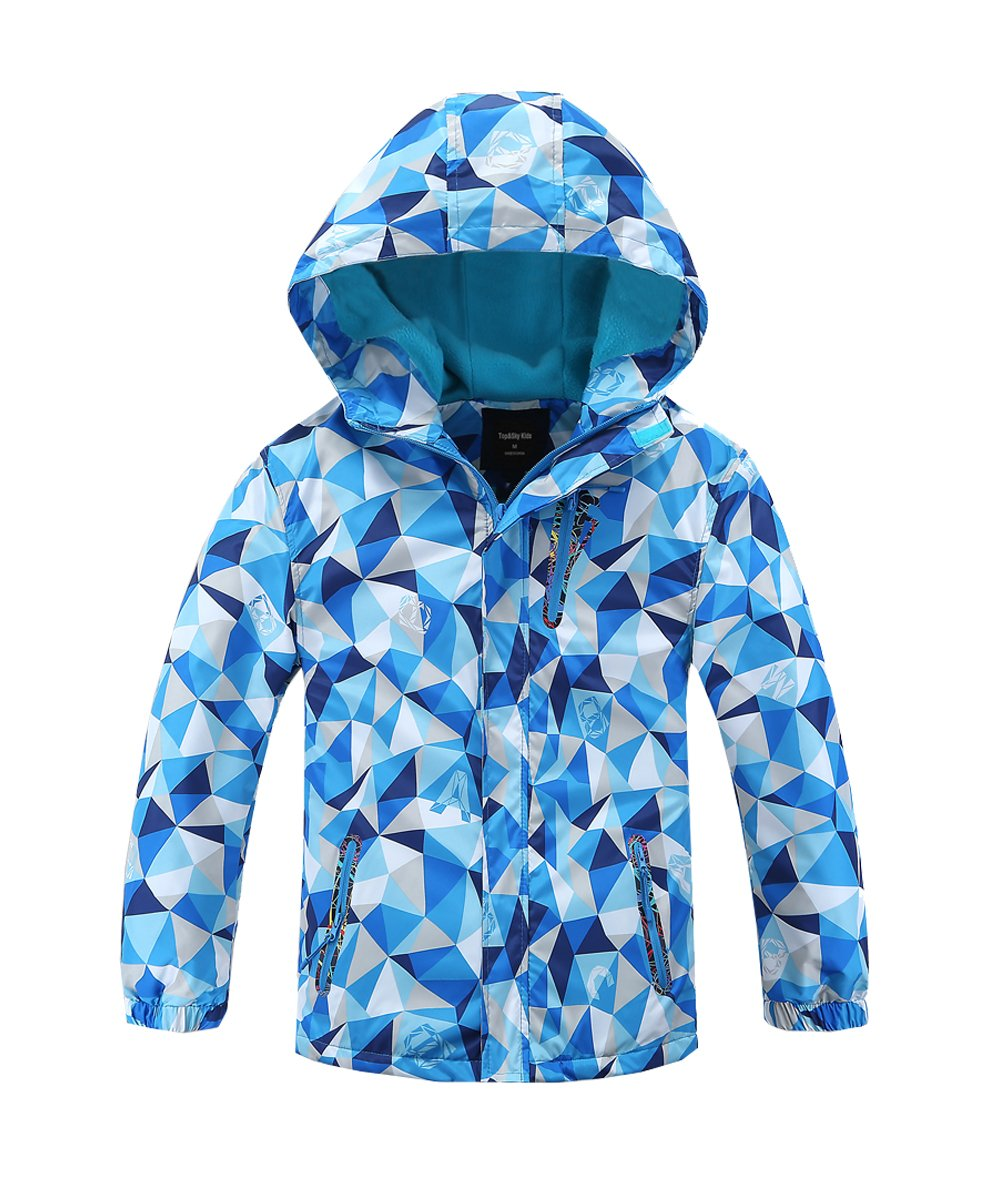 Hiheart Girls Boys Waterproof Fleece Lined Jacket Hood Windproof Rain Coat Blue 7/8