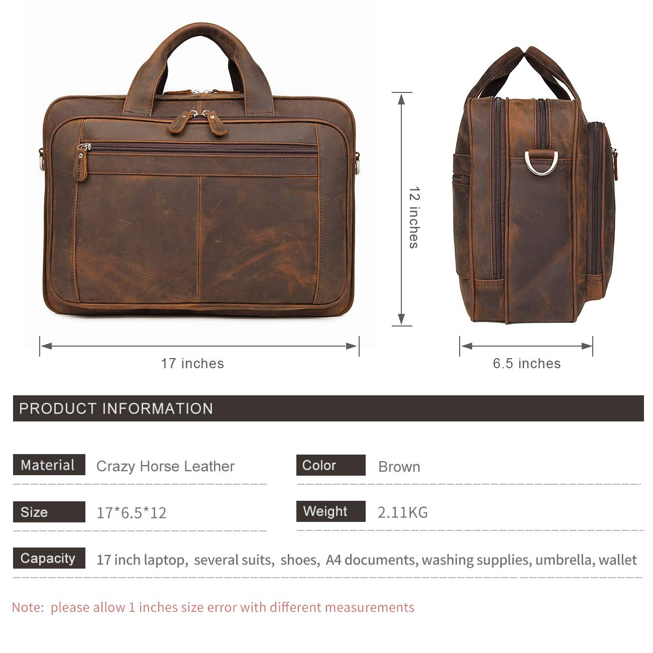 Augus Business Travel Briefcase Genuine Leather Duffel Bags for Men Laptop Bag fits 15.6 inches Laptop (Dark brown) by Augus (Image #4)