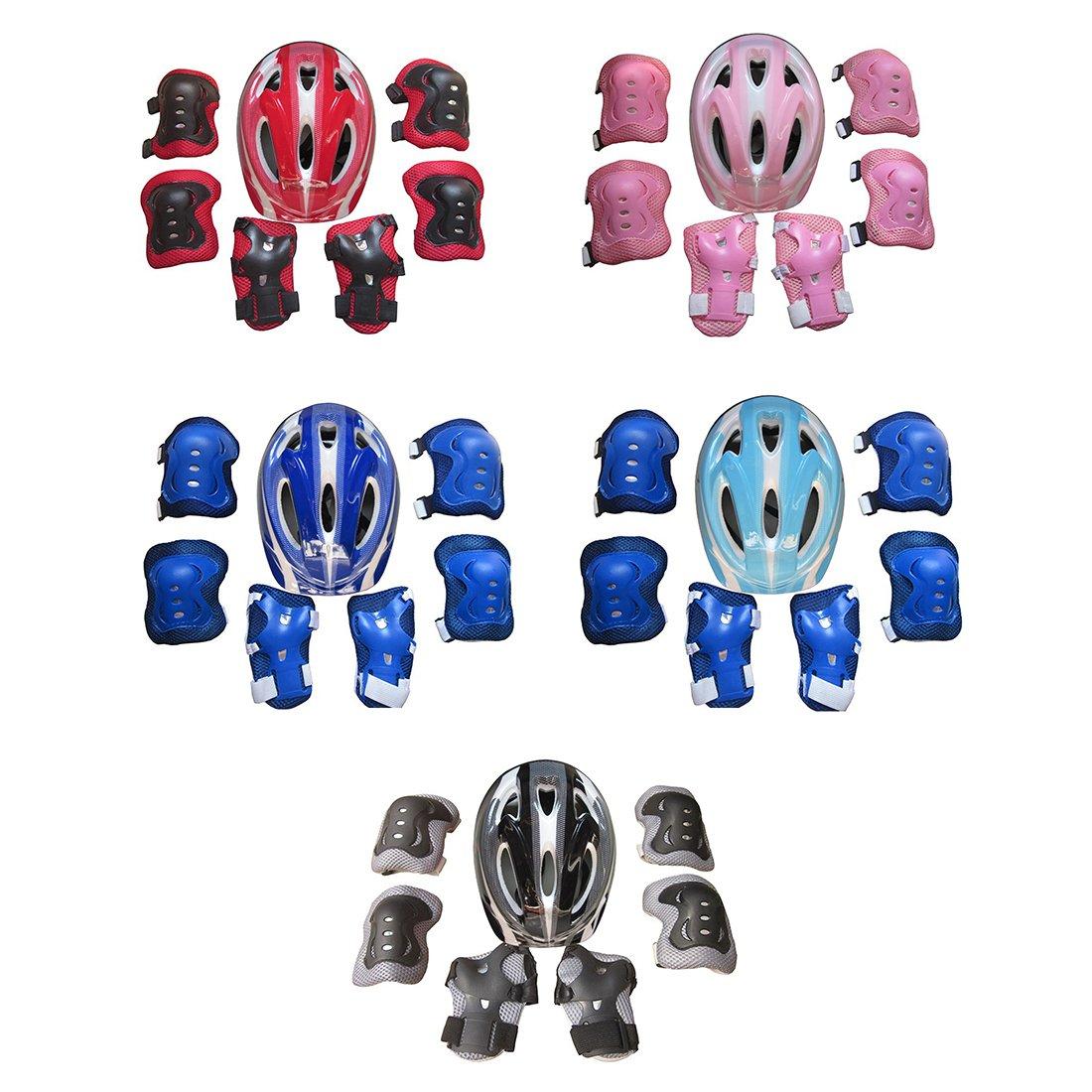 Bicicleta MAJOZ 7 Piezas Casco y Protecciones Infantil Patinaje Tama/ño Ajustable Casco Rodilleras Coderas Mu/ñequeras para Deportivas Azul Oscuro Skate Monopat/ín