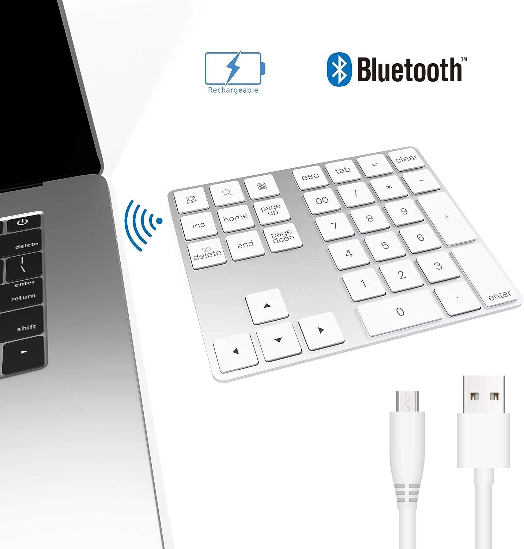 Bawanfa Teclado numérico Bluetooth, Teclado Numérico Inalámbrico Recargable 34 Teclas Entrada Datos Teclado Numérico Compatible con Windows/Android/iOS/OS