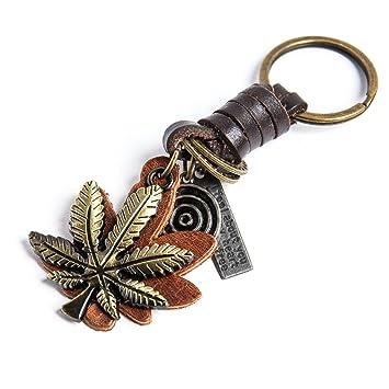 AuPra Hojas de Cannabis Llavero de Cuero Regalo Creativo ...