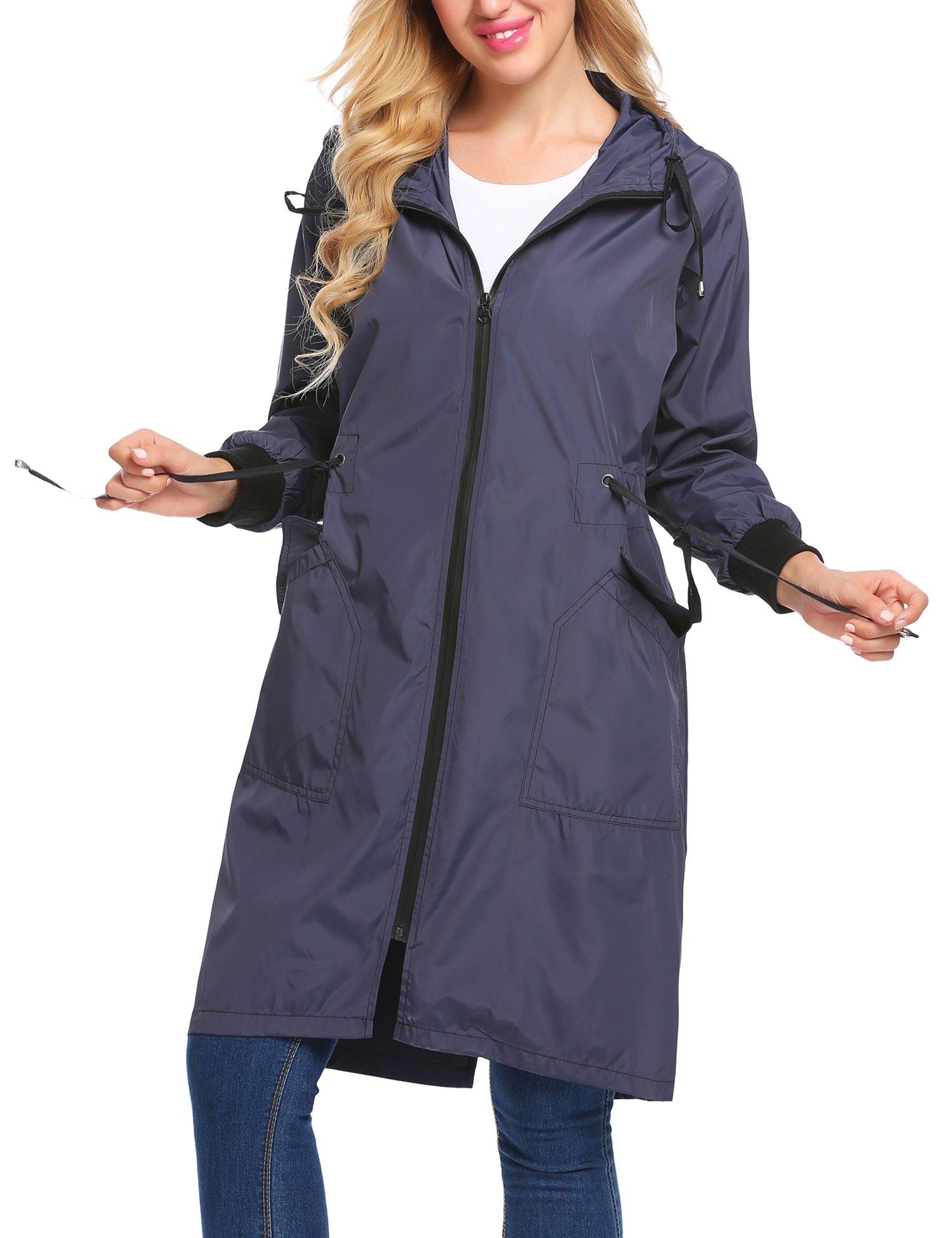 Zeagoo Long Raincoat Waterproof Lightweight Rain Jacket Women Hooded Windbreaker