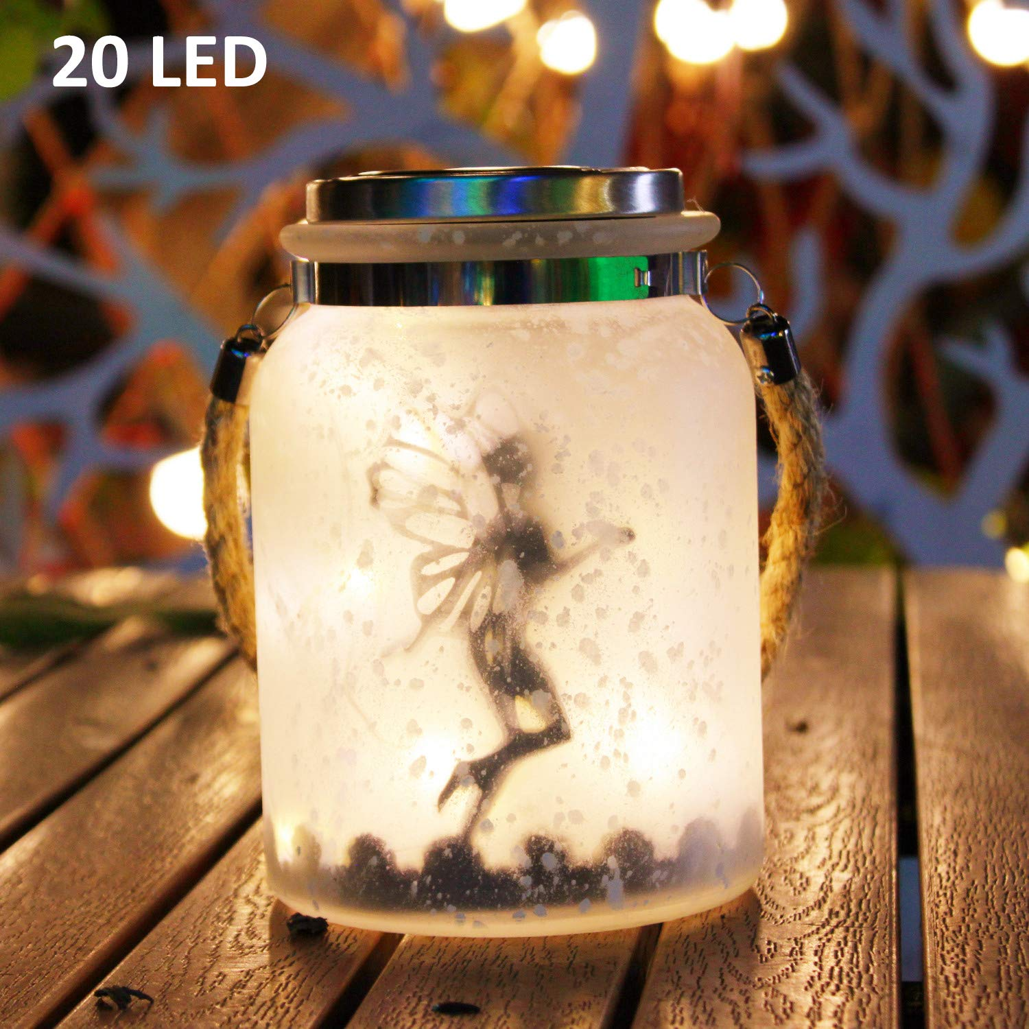 Kaixoxin Jar Solar Lights Outdoor Decorative, White Frosted Glass Hanging Solar Lantern Angel Lights, 20 Warm White Mini LED Fairy String Lights (6.25'' Tall)