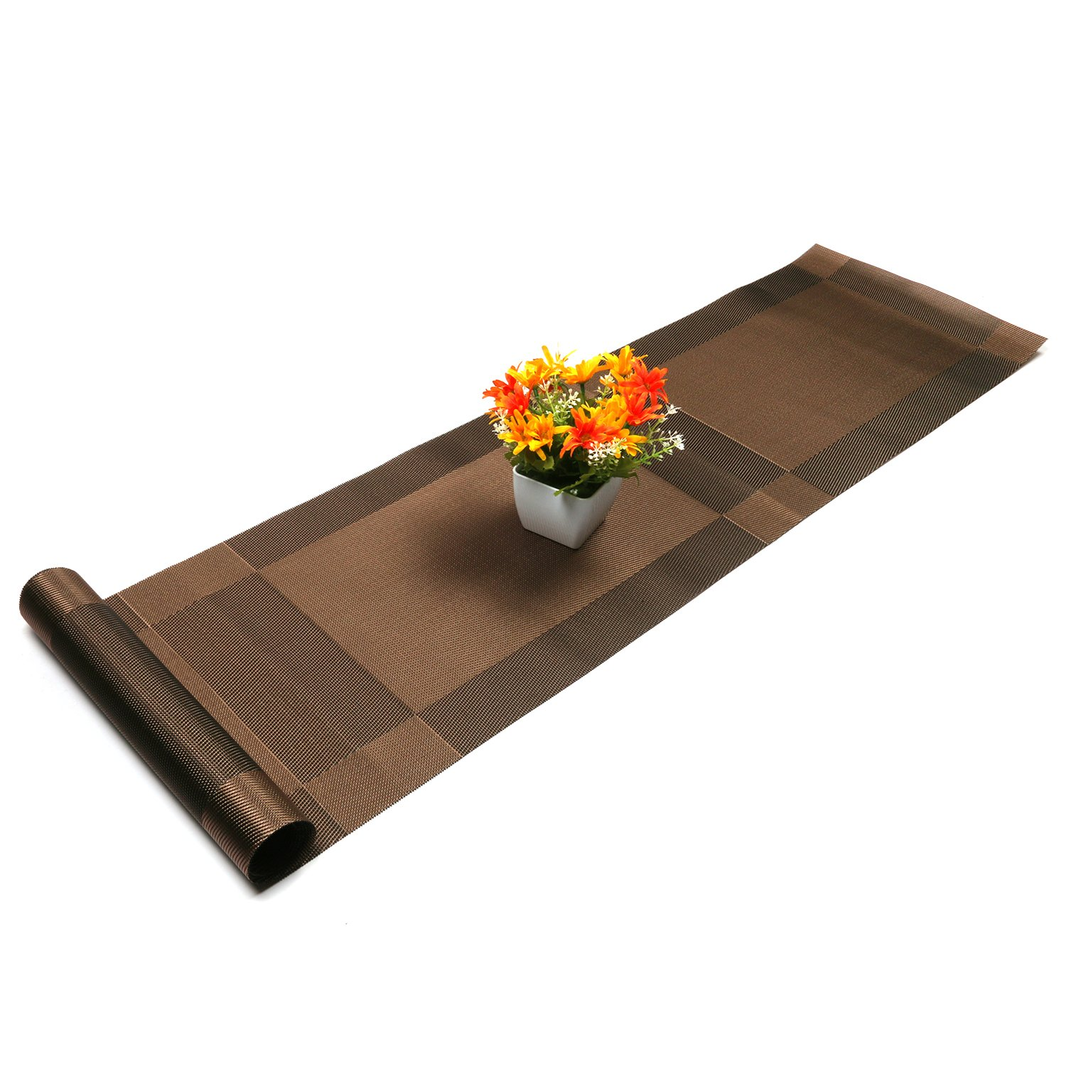 Compatible Placemats table runner,U'artlines 1 piece Crossweave Woven Vinyl Table Runner Washable 30x180cm (Brown, Table runner)