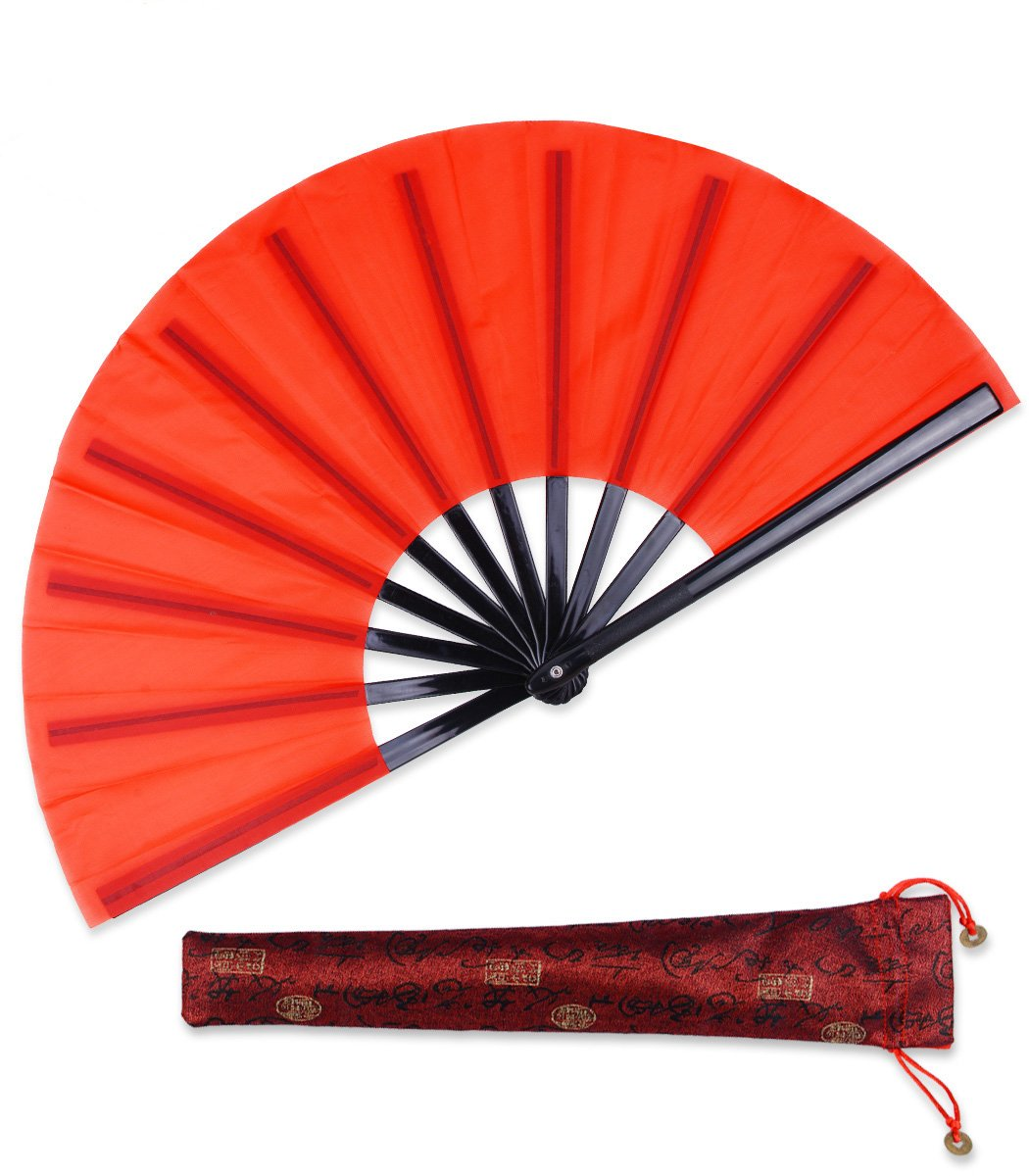 Large Chinese Hand Fan Kung Fu Tai Chi Plastic-Nylon Hand Held Dance Folding Fans for Men/Women With a Fabric Case for Protection 13inch (Folding Fan red)