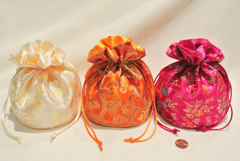 Oriental Floral Satin Handbag Set - 3 pack - Fuchsia, Melon, Ivory - jewelry pouch / bag, money bag, gift bag, evening/prom/bridal wedding handbag...