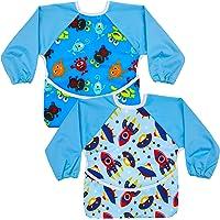 Hautton Toddler Baby Waterproof Sleeved Bib, 2-Pack Set Apron Bib Smock with Long Sleeves and Pocket Toddler Feeding…