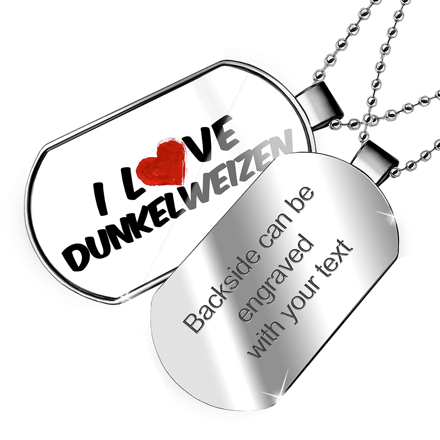 NEONBLOND Personalized Name Engraved I Love Dunkelweizen Beer Dogtag Necklace