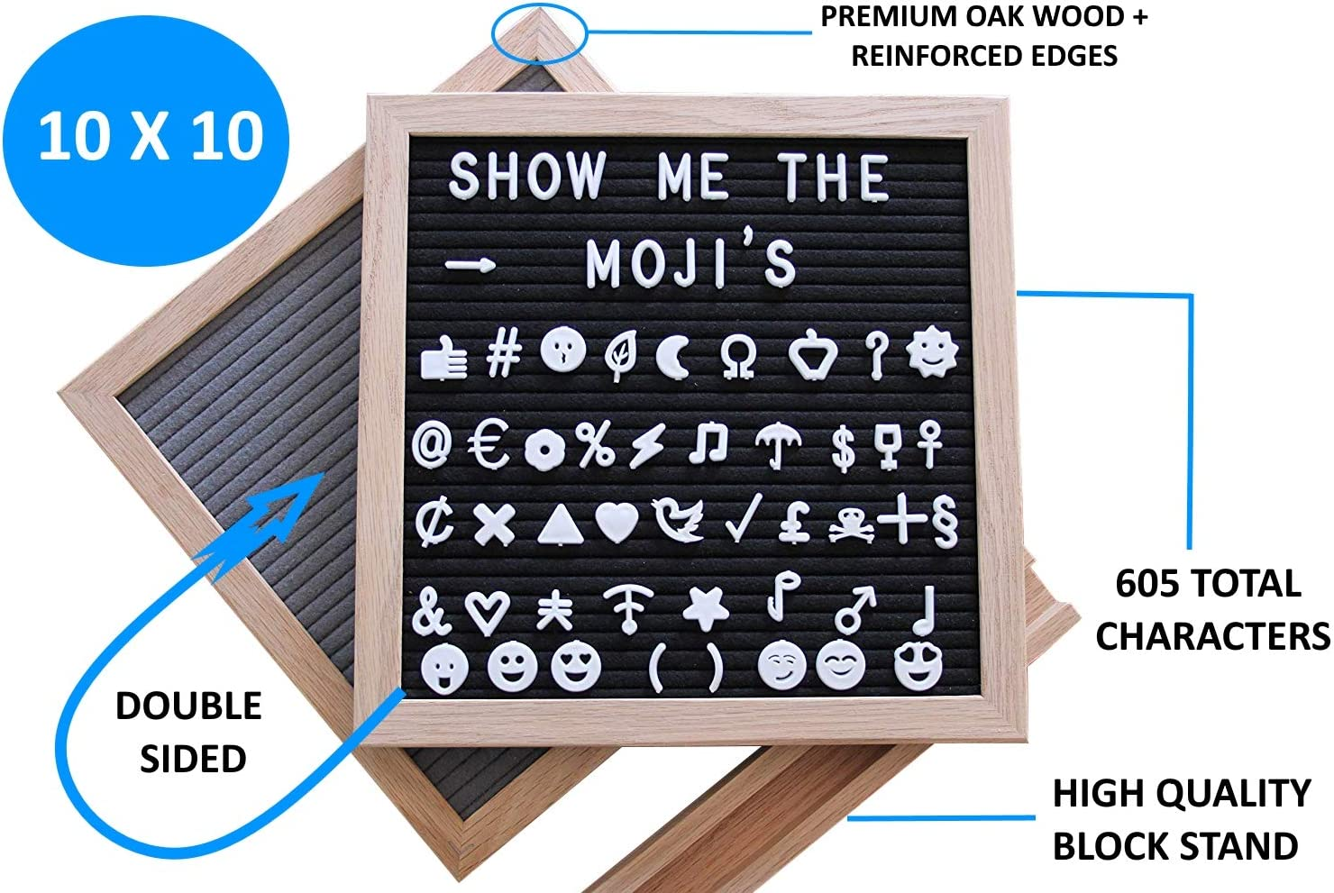 Felt Letter Board Signs with Letters: 10x10 Inch Double Sided Grey/Black Felt Message Boards - Make Your Own Sign Board with Wood Frame - 605 ...