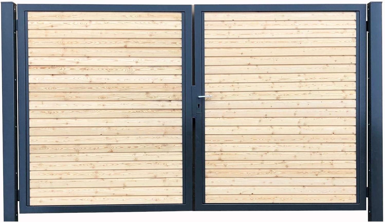 Puerta de entrada premium para jardín de 350 x 160 cm RAL 7016, antracita, madera, simétrica: Amazon.es: Electrónica