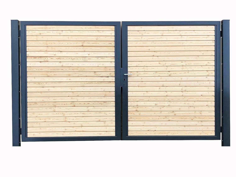 Einfahrtstor Verzinkt Garten Holz-Tor quer Symmetrisch 2-Flügeltor 350cmx160cm