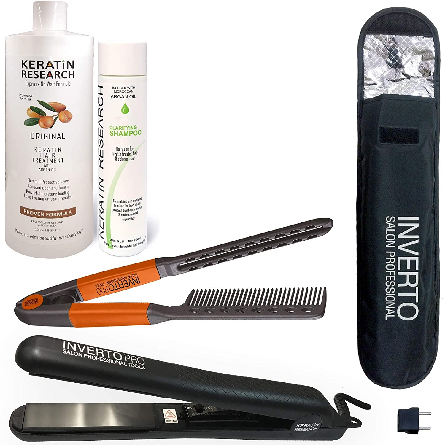 Brazilian Keratin Hair Blowout Treatment VALUE KIT III with Flat Iron and much more, Professional Results Straighten and Smooths Hair Queratina Keratina Brasilera Tratamiento