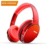 Auriculares Bluetooth Diadema Winisok, Auriculares Inalámbricos Bluetooth con Micrófono Casco Plegable Headphone Bluetooth Manos Libres y Cable de Audio para Apple iPhone X, 8, 7Plus, 6s, 6 Samsung Sony Huawei (Rojo)