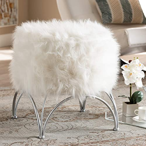Baxton Studio Celia Modern and Contemporary White Faux Fur Upholstered Silver Metal Ottoman