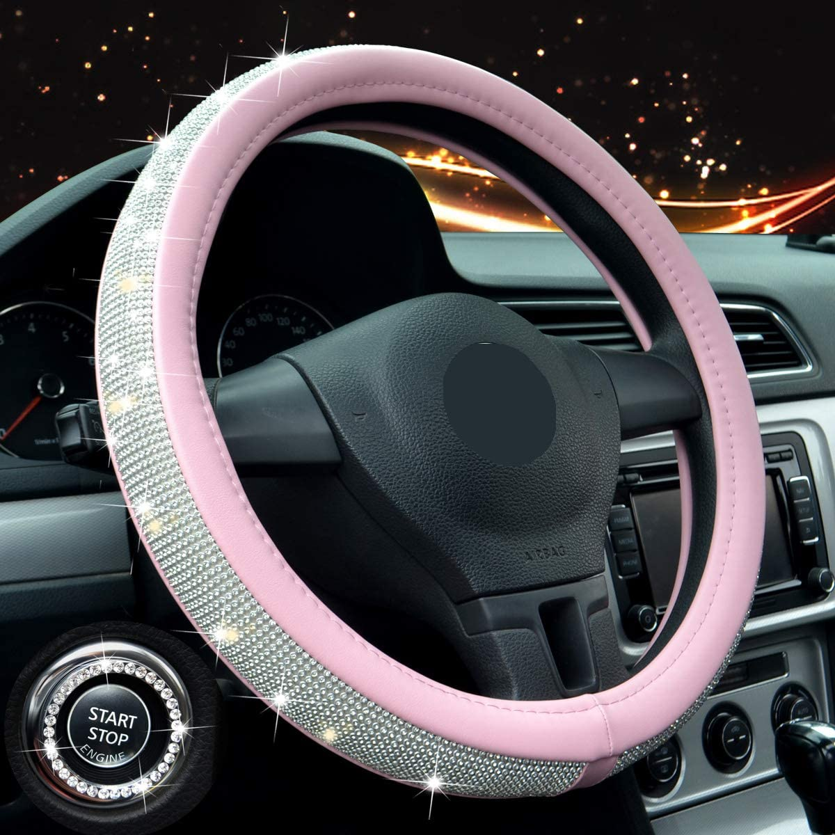 Crystal Steering Wheel Cover For Girls.Universal 15inch Rhinestones Bling Leather SUV Car Wheel Protector A pink steering wheel cover