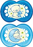 MAM Night Glow in The Dark SooTher Suitable 6 Months with Sterilisable Travel Case - Pack of 2, Blue