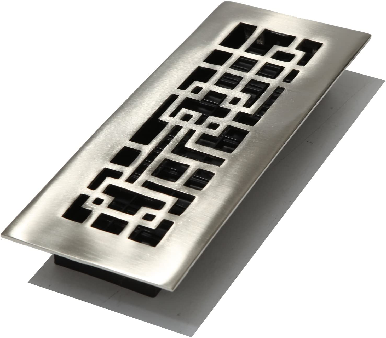 Decor Grates AB310-NKL 3-Inch by 10-Inch Abstract Floor Register, Solid Brass with Brushed Nickel Finish