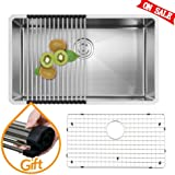 VAPSINT Commercial 30 Inch 18 Gauge Handmade Drop In Undermount Single Bowl Stainless Steel Kitchen Sinks, Including Dish Drying Rack, Dish Grid & Drain Stainer