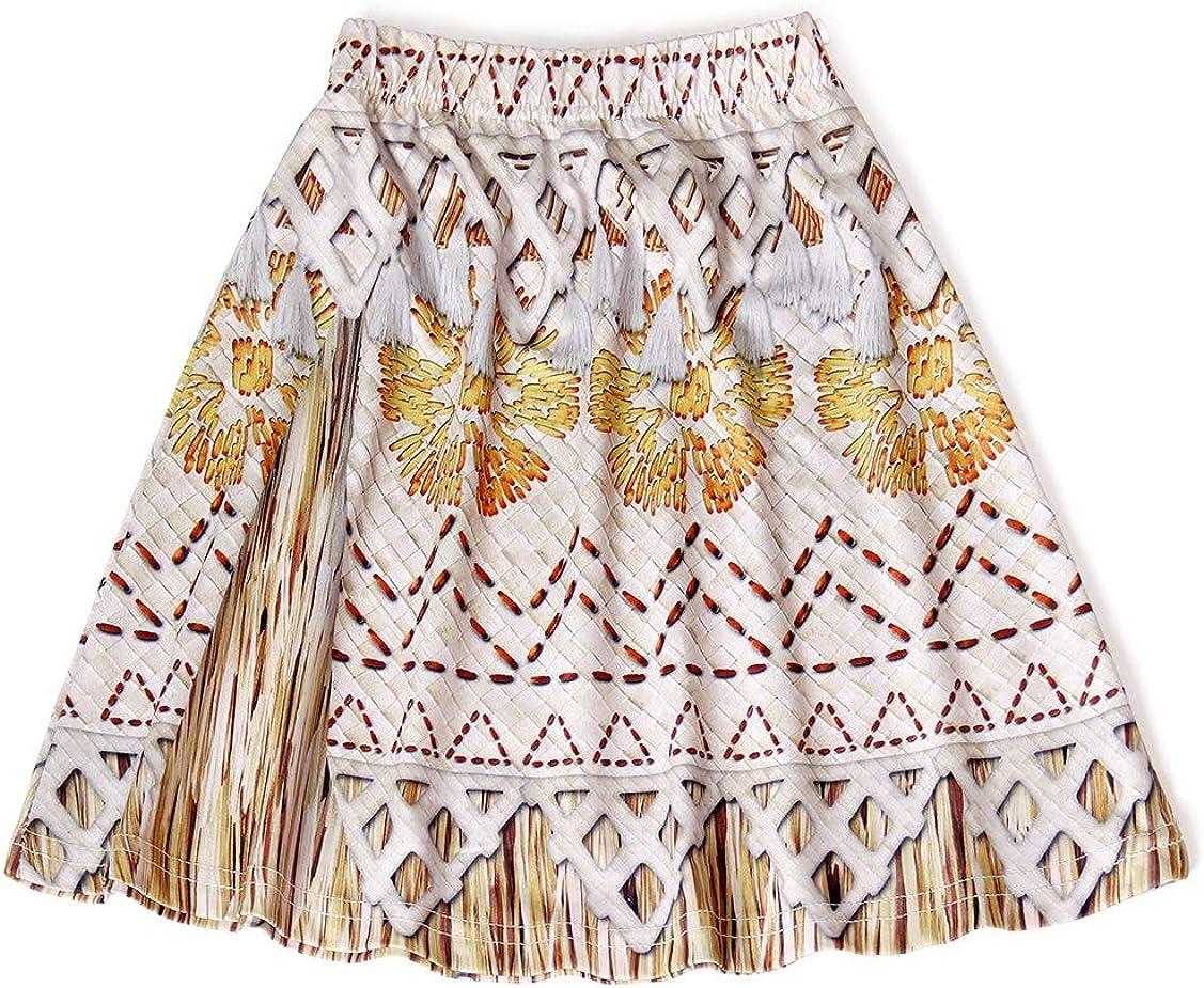 Jurebecia Bambini Vestito Moana Dress per Ragazze Vestito Abiti Estivi Senza Maniche Outfit Set Abiti da Festa di Compleanno di Halloween con Collana e Fiore