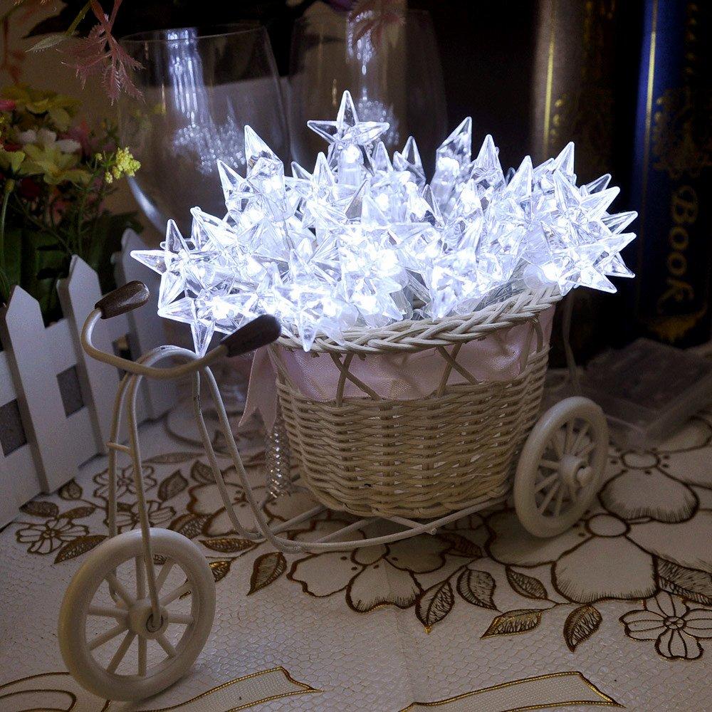 4m 13ft Lychee 40LED impermeable Batería de cinco puntas de la estrella Operado luces de hadas de Cuerda en la decoración de Navidad de la boda de interior al aire libre Jardín Home Party (blanco)