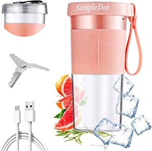 SimpleDot Portable Blender, Personal Jucier Cup, Mixer, Shakes and Smoothies, with USB Rechargeable, for Kitchen Outdoor Travel Office and Sports (Pink)