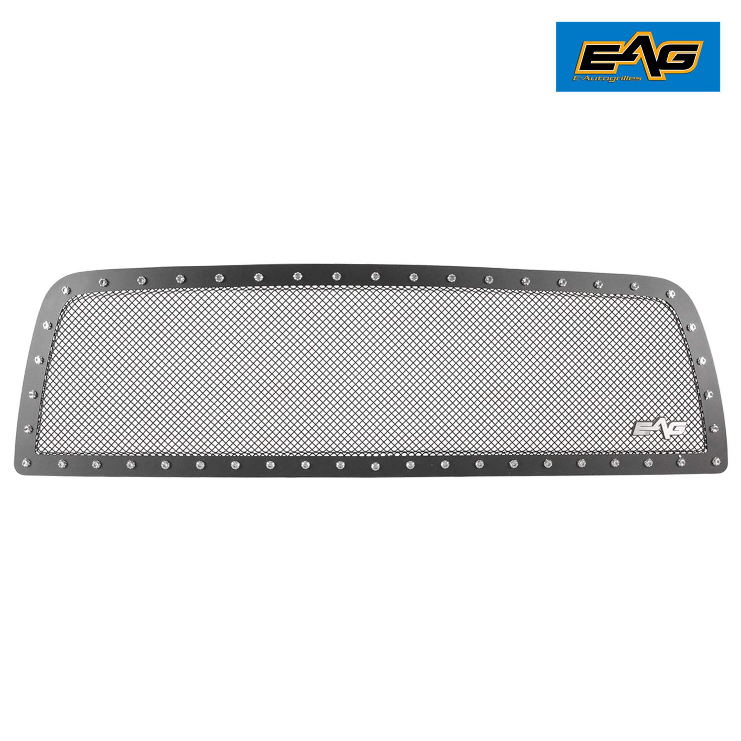 EAG Rivet Black Stainless Steel Wire Mesh Grille with 3 LED Lights Fit for 09-12 Dodge Ram 1500 1PC