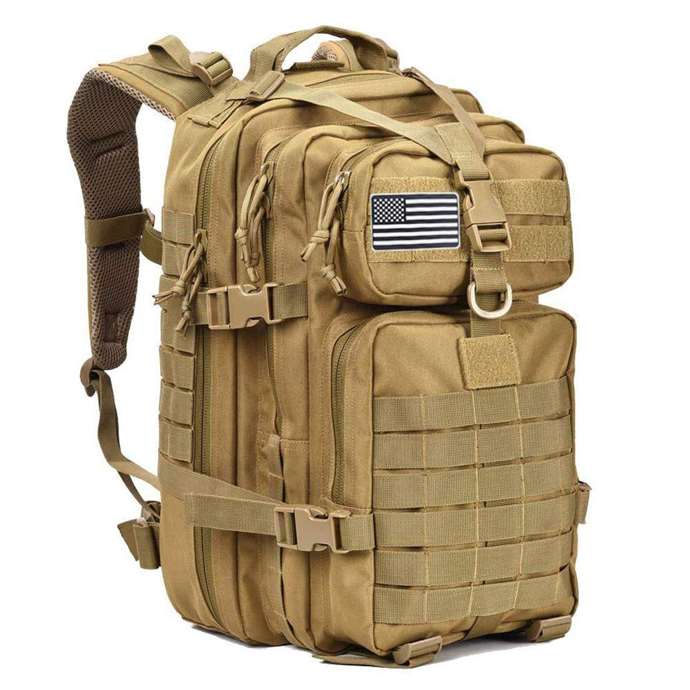MEWAY 42L Military Tactical Backpack Large Assault Pack 3 Day Army Rucksacks Molle Bag Outdoors Hiking Daypack Hunting Backpacks (Khaki+)