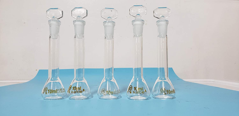 lab Volumetric Flask Class A Borosilicate Glass 10 ml a Set of 5 New