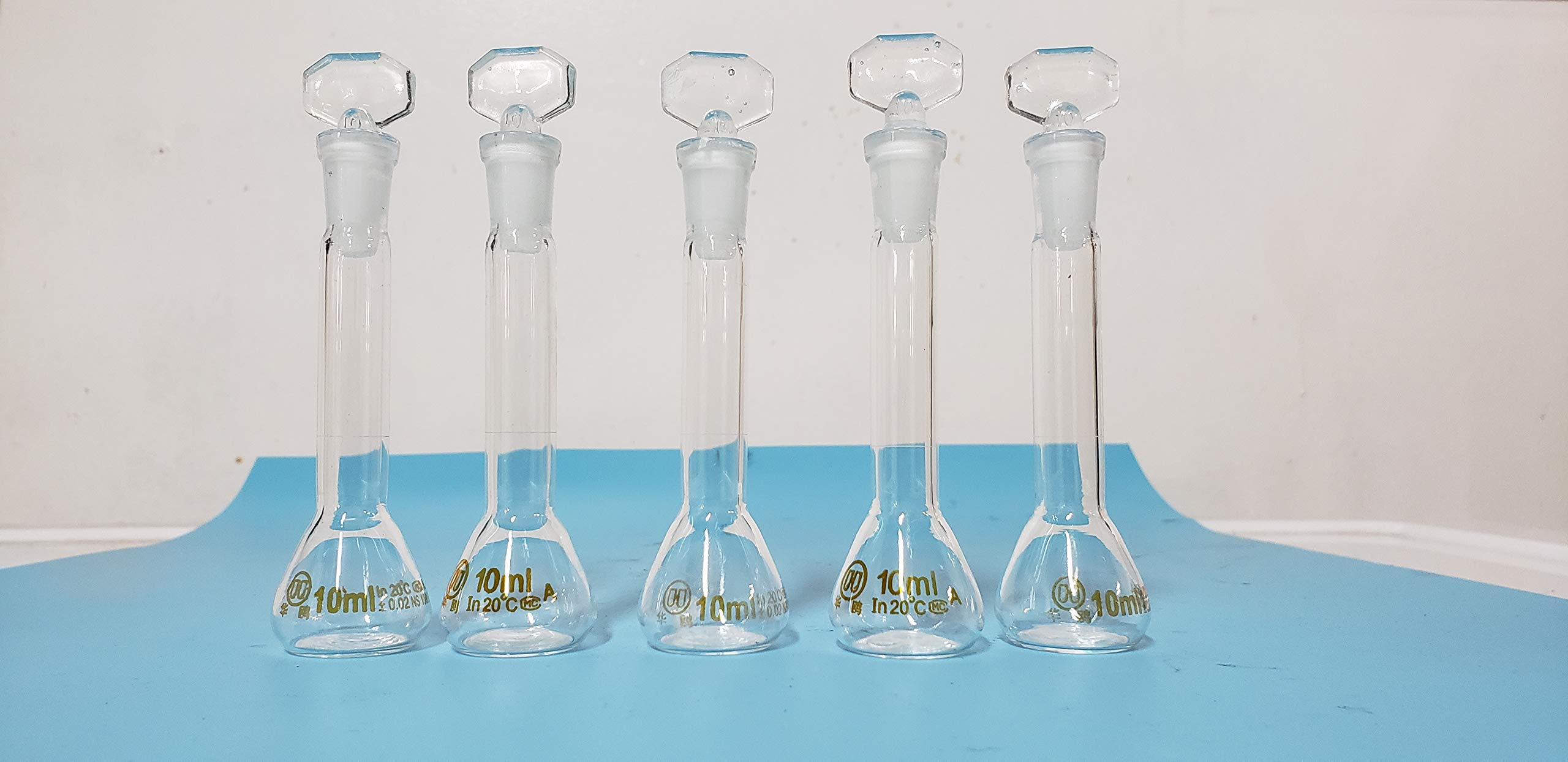 lab Volumetric Flask Class A Borosilicate Glass 10 ml a Set of 5 New by beyondsupply