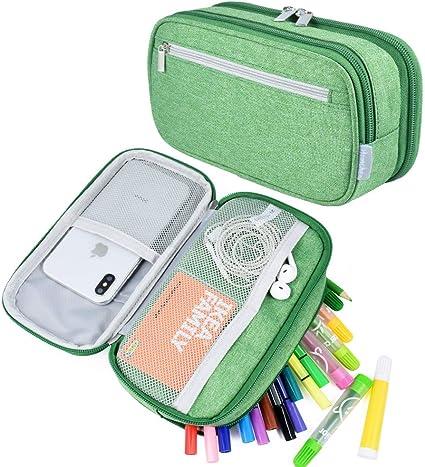 Estuche para lápices, de gran capacidad, estuche con grandes compartimentos para la escuela, estudiantes, niños, niñas y oficina, color verde: Amazon.es: Oficina y papelería