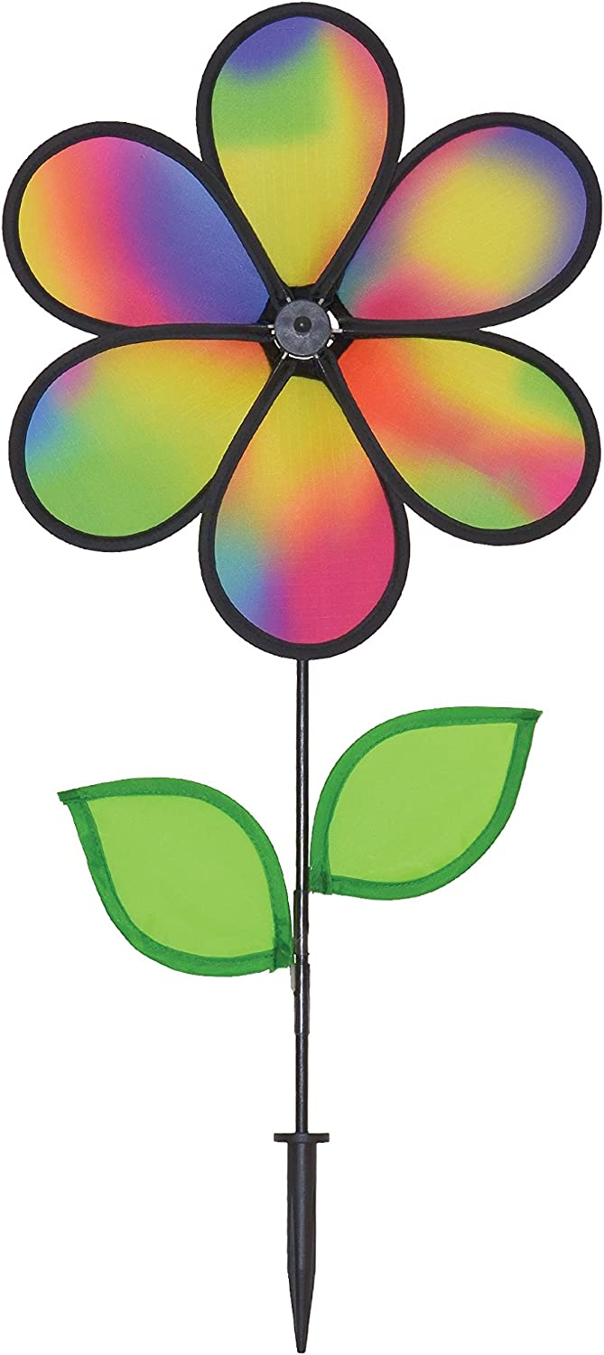 In the Breeze Jewel Flower Spinner with Leaves, 12-Inch
