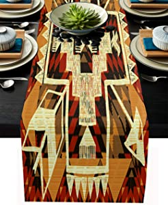 T&H XHome Linen Burlap Table Runner Dresser Scarves, Native Americans Arrow Decoration Kitchen Table Runners for Dinner Holiday Parties, Wedding, Events, Decor - 13x90 inches(33 x 229cm)