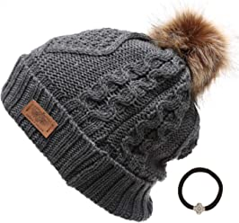 5b71946420ba3 ANGELA   WILLIAM Women s Winter Fleece Lined Cable Knitted Pom Pom Beanie  Hat with Hair Tie