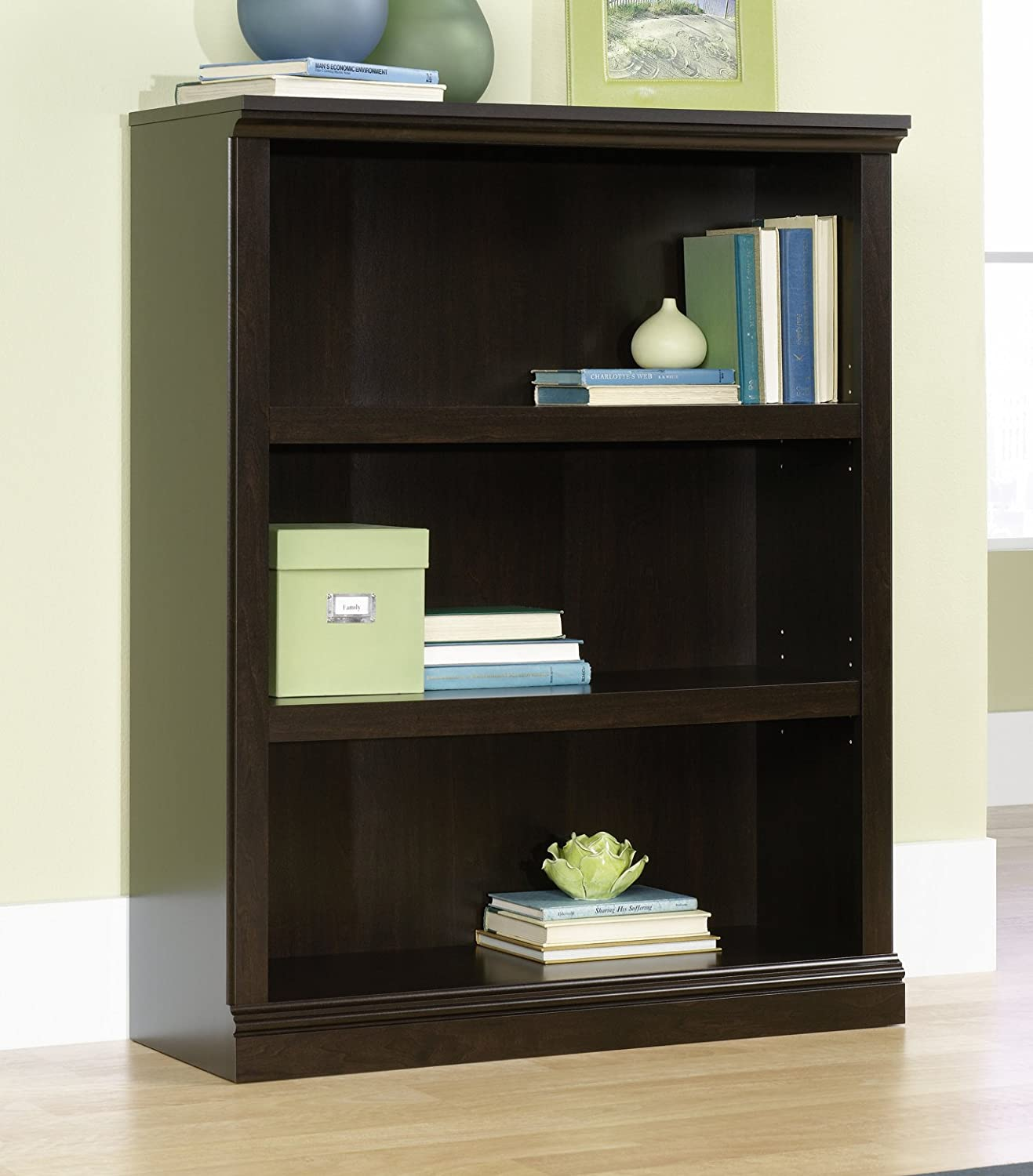 Sauder 3-Shelf Bookcase, Jamocha Wood Finish 410373