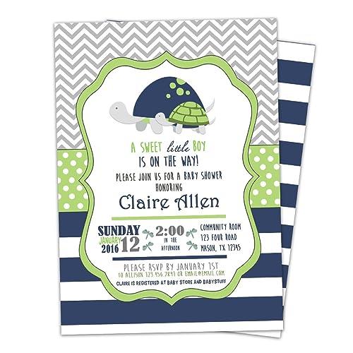 Amazon Com Lime Little Turtle Baby Shower Invitations Boy Invites